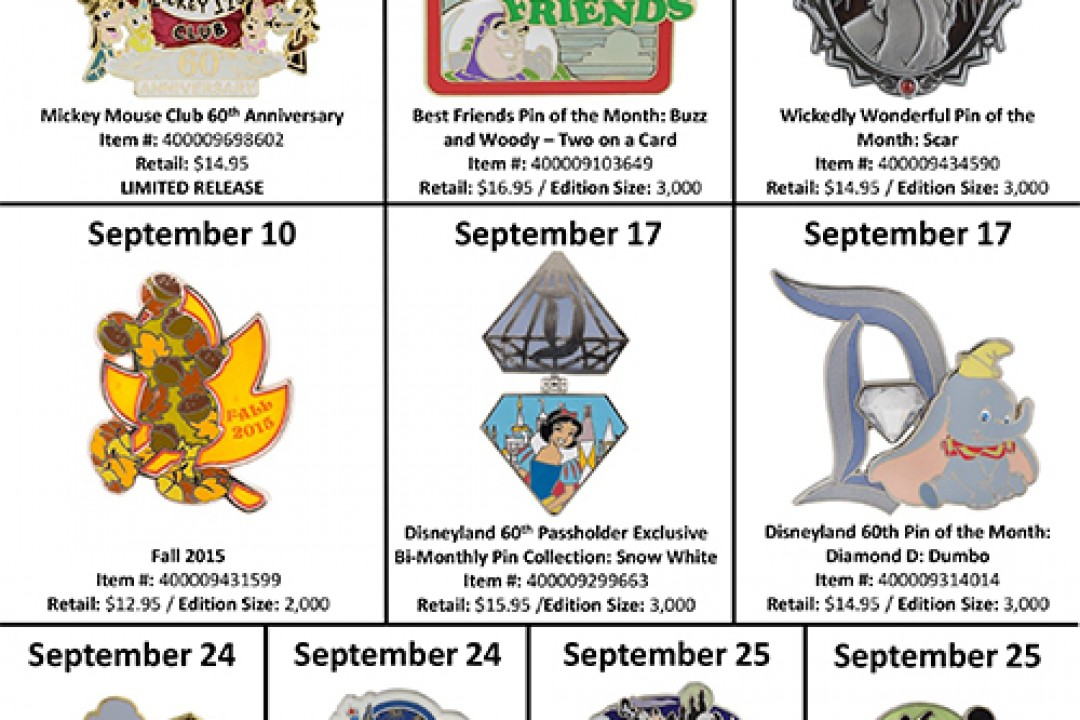 List of Pins to be Released in Disney Parks This September