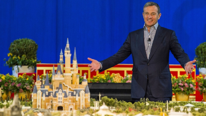 Disney Chairman and CEO Bob Iger revealed a scale model of Shanghai Disneyland and displays showcasing key highlights of unique attractions, entertainment, dining and hotels at a presentation held at the Shanghai Expo Centre. (PRNewsFoto/The Walt Disney Company)