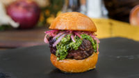 Beef Tenderloin Sliders with Garlic Chimichurri and Pickled Onions