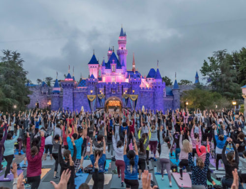 Disney Hosts International Yoga Day In Front Of Sleeping Beauty Castle at Disneyland